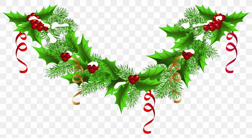 Christmas Garland Wreath Clip Art, PNG, 6290x3469px, Christmas, Aquifoliaceae, Branch, Christmas Decoration, Christmas Lights Download Free