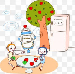 A Robot Playing Under A Fruit Tree - Robot Fruit Tree Clip Art PNG