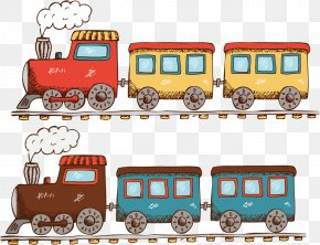 Cartoon Illustration Steam Train Running - Train Cartoon Illustration PNG