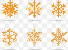 Orange Snowflakes - Snowflake Winter Pattern PNG