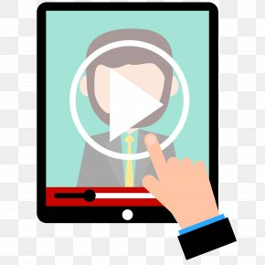 Vector Hand Click On Tablet Video Conferencing - IPad Computer PNG