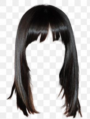 Western Style Black Hair Wig Free To Pull The Material - Lace Wig Hairstyle Long Hair PNG