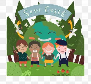 Happy Children - Earth Cartoon Illustration PNG