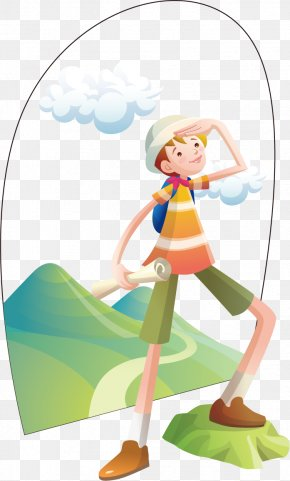 Young Climber - Mountaineering Cartoon Illustration PNG