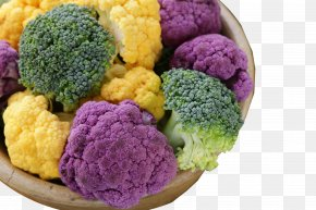 Colorful Tubs Filled With Broccoli - Broccolini Cauliflower Vegetable Red Cabbage PNG