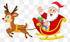 Transparent Santa With Rudolph Clipart - Reindeer Santa Claus Christmas Ornament Illustration PNG