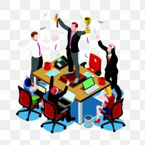 Winning Business Man - Isometric Projection Teamwork Clip Art PNG