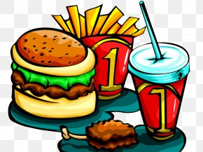 Cartoon Hand Painted Burger - Hamburger Fast Food French Fries Fried Chicken Burger Games PNG