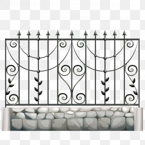 Vector Decorative Wrought Iron - Fence Gate Metal Wrought Iron Illustration PNG