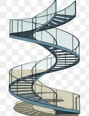 Modern Glass Rotating Stairs - Structural Steel Stairs Building Steel Frame PNG