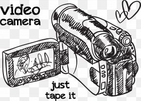Hand Drawn Vector Camera Love - Microphone Video Camera Drawing PNG