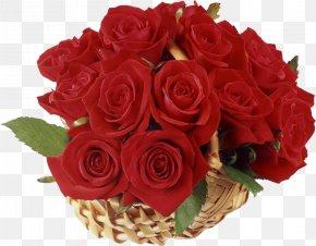 Basket With Red Roses Clipart - Flower Delivery Floristry Rose Basket PNG