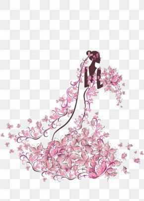 Bride Holding Flowers - Wedding Invitation Bride Illustration PNG