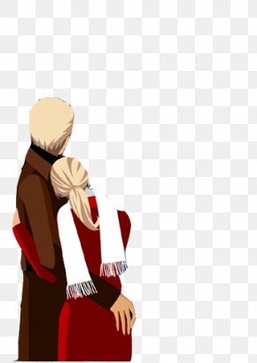 Hand-painted Men And Women Embracing - Portrait Royalty-free Illustration PNG