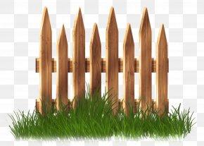 Transparent Wooden Garden Fence With Grass Clipart - Fence Garden Lawn Clip Art PNG