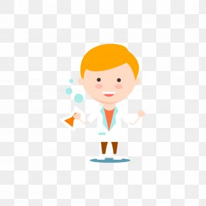 A Male Scientist Holding A Test Tube - Scientist Cartoon Clip Art PNG