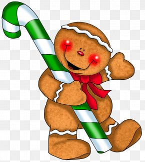Gingerbread Ornament With Candy Cane Clipart - Candy Cane Lollipop Clip Art PNG