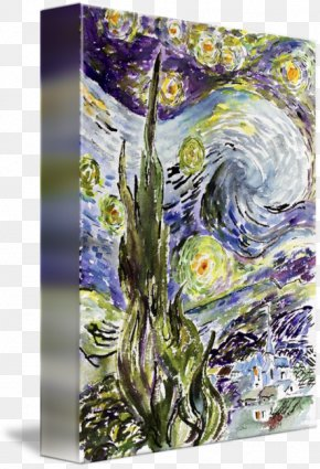 Van Gogh The Starry Night - Watercolor Painting Flower Modern Art PNG