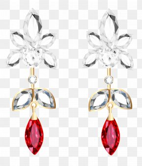 Transparent Diamond And Ruby Earrings Clipart - Earring Jewellery Necklace Clip Art PNG