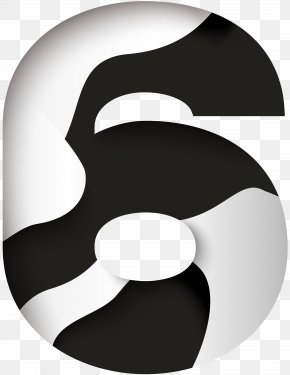Number Six Black White Clip Art Image - Black And White Clip Art PNG