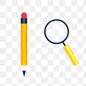 Vector Pencil Magnifying Glass Material - Magnifying Glass Pencil PNG