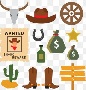 Cowboy Elements - Cowboy Hat Cowboy Boot PNG