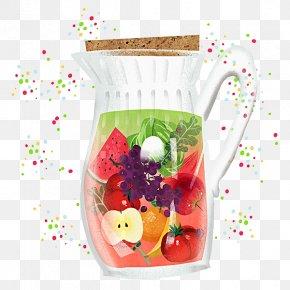 Hand Painted Fruit Juice Jar - Orange Juice Fruit Peach Auglis PNG