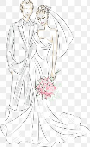 Vector Hand-painted Bride And Groom - Character Cartoon Clip Art PNG