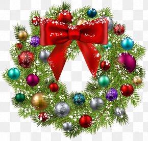 Gold Wreath - Christmas Ornament Wreath Santa Claus Clip Art PNG