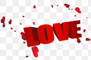 Big Red 3D Love With Hearts - Love Clip Art PNG