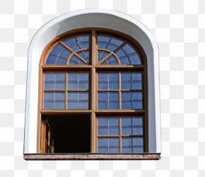 Retro Windows - Window Blind Wood Arch Building PNG