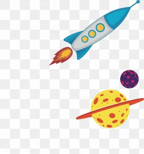 Rocket And Planet - Earth Cartoon Outer Space PNG