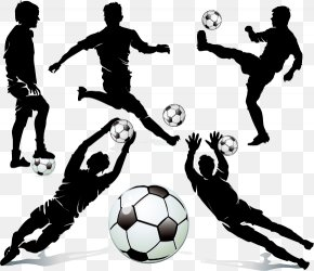 Football Player Silhouette - Football Player Silhouette Dribbling PNG