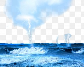 Blue Sky Lightning On The Sea - Thunderstorm Cloud Lightning Sea PNG
