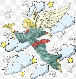 Vector Angel In The Clouds - Clip Art PNG