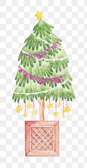 Christmas Tree - IPhone X Watercolor Painting Christmas Illustration PNG