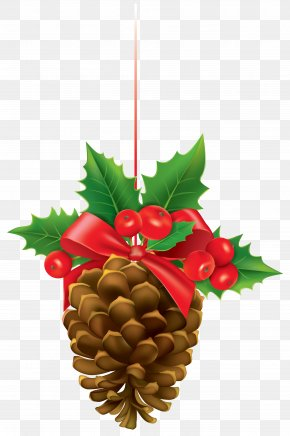 Christmas Pinecone With Mistletoe Clipart Image - Mistletoe Clip Art PNG