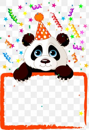 Birthday Border - Giant Panda Bear Birthday Party Clip Art PNG