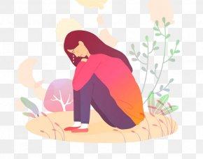 Plant Kneeling - Cartoon Pink Sitting Kneeling Plant PNG