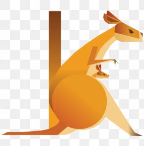Creative Design Kangaroo Flat - Alphabet Typography Letter Animal Illustration PNG