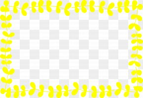 Yellow Cartoon Leaf Frame - Yellow Area Pattern PNG
