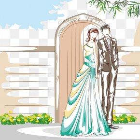 Cartoon Couple Wedding - Cartoon Photography Wedding Illustration PNG