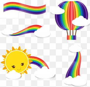 4 Beautiful Rainbow Vector Clip Art - Rainbow Cloud Clip Art PNG