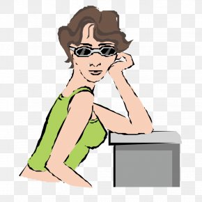 Hand On Chin Woman - Chin Illustration PNG