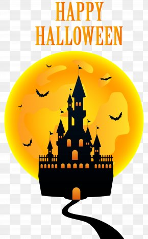 Happy Halloween With Castle Clip Art Image - Halloween Clip Art PNG