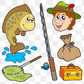 Cartoon Character Fishing - Fisherman Fishing Net Clip Art PNG