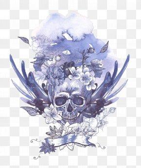Light Blue Skull Pattern - Human Skull Symbolism Royalty-free PNG