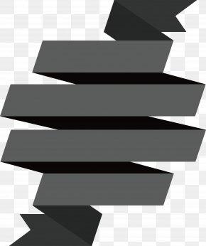 Spiral Ribbon Title Box - Ribbon Spiral Black And White PNG