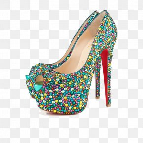 Green Sequins Waterproof High-heeled Sandals - Court Shoe High-heeled Footwear Rhinestone Peep-toe Shoe PNG