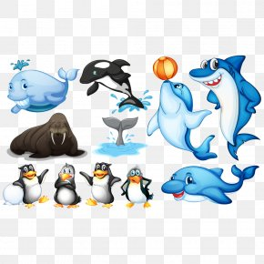 Cartoon Penguins And Other Animals - Aquatic Animal Sea Illustration PNG